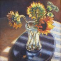 Still Life - Vase Of Sunflowers - Oil On Canvas
