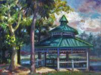 Landscapes - Gazebo Lake Lily - Oil On Masonite