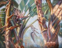 Botanicals - Bird Of Paradise Palms - Oil On Canvas