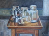 Still Life - Jar Table - Oil On Canvas